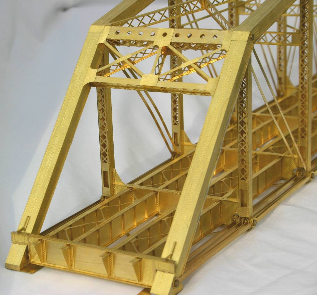 etched brass double track parker thru truss bridge at whitford